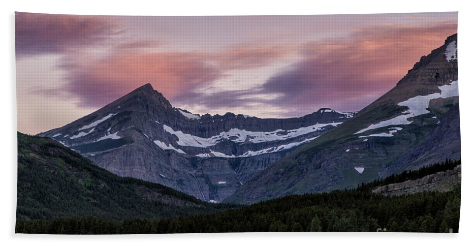 Glacier Hand Towel featuring the photograph Early Sunrise by Timothy Hacker