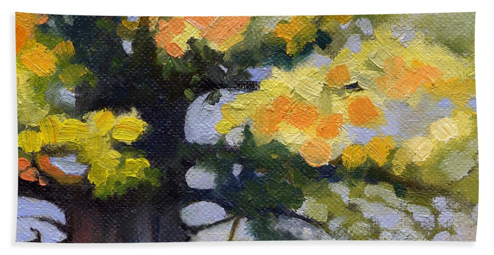 Oak Bath Towel featuring the painting Earlysville Virginia Ancient White Oak by Catherine Twomey