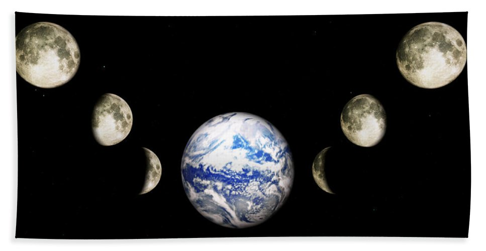 Earth Hand Towel featuring the digital art Earth And Phases Of The Moon by Bob Orsillo
