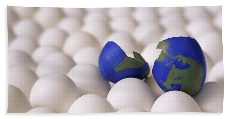 Balance Hand Towel featuring the photograph Earth Egg Torn Apart by Jim Corwin