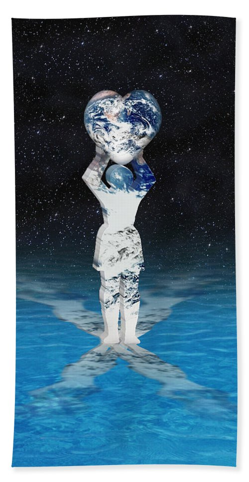 Surreal Bath Towel featuring the digital art Earth Heart Holder by Gravityx9 Designs