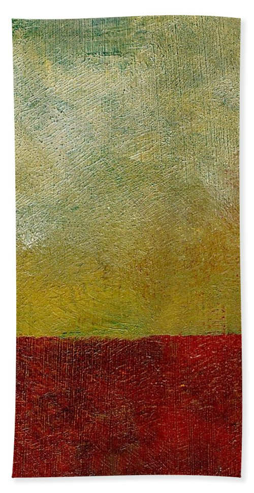 Abstract Landscape Hand Towel featuring the painting Earth Study One by Michelle Calkins
