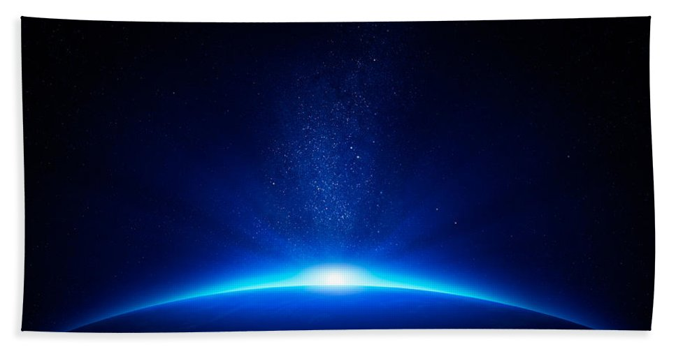 Earth Bath Towel featuring the photograph Earth Sunrise In Space by Johan Swanepoel