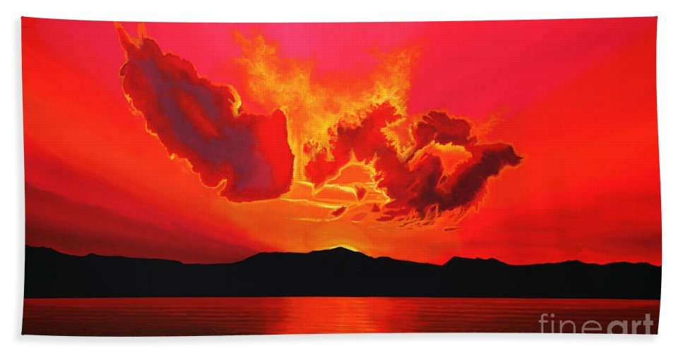 Paul Meijering Bath Sheet featuring the painting Earth Sunset by Paul Meijering