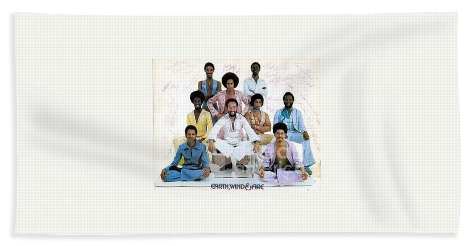 Earth Hand Towel featuring the photograph Earth Wind And Fire Autographed Photo Of Group by Jussta Jussta
