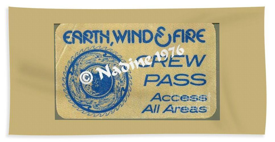 Earth Hand Towel featuring the photograph Earth Wind Fire Crew Pass 1976 by Jussta Jussta