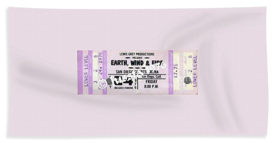 Earth Hand Towel featuring the photograph Earth Wind Fire San Diego Sports Arena Ticket September 24 1976 by Jussta Jussta