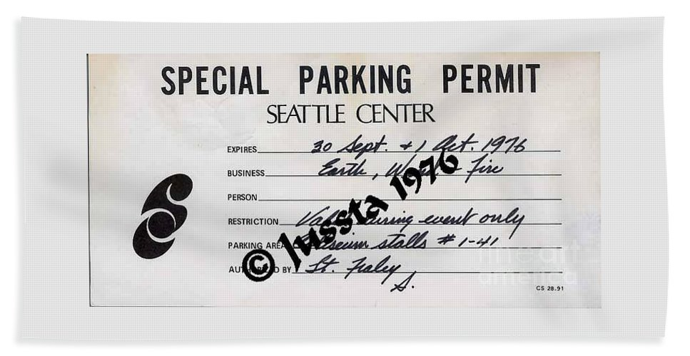 Earth Hand Towel featuring the photograph Earth Wind Fire Seattle Parking Permit by Jussta Jussta
