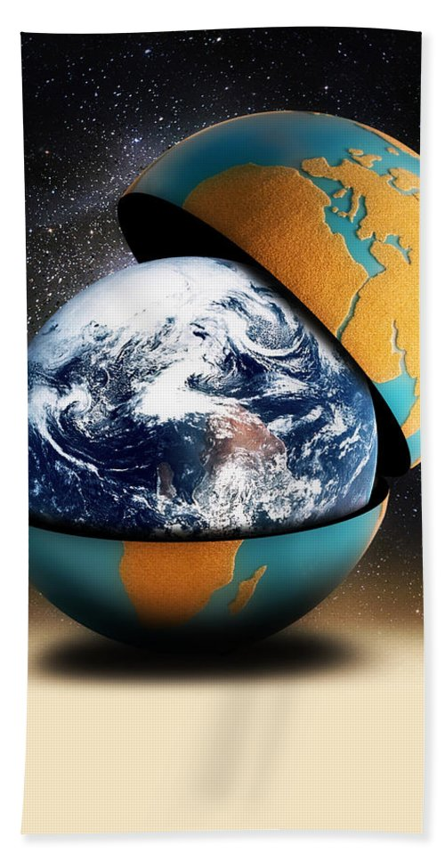 Shell Bath Sheet featuring the digital art Earths Protective Cover by Gravityx9 Designs