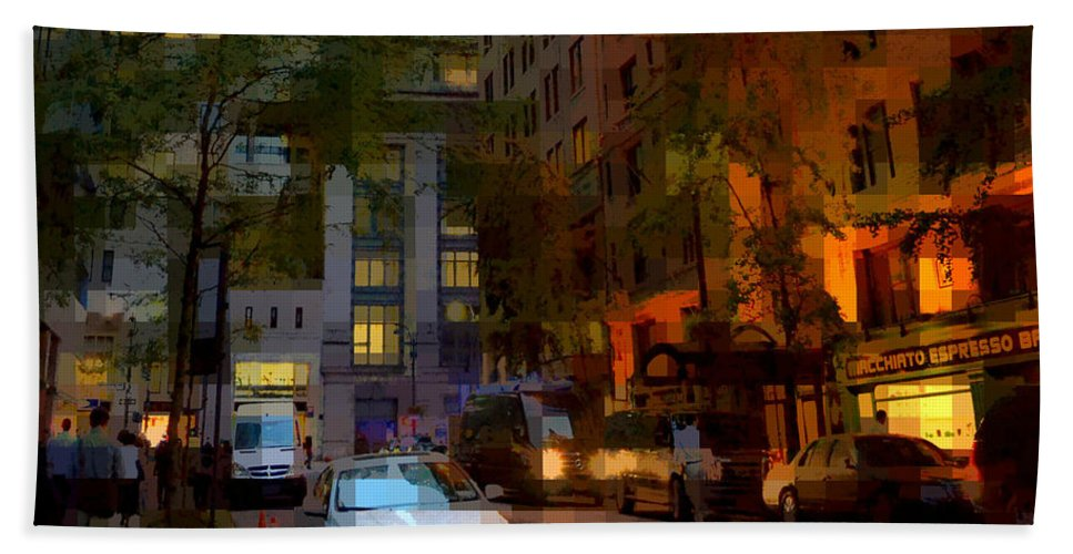 New York Bath Sheet featuring the photograph East 44th Street - Rhapsody In Blue And Orange - Close View by Miriam Danar