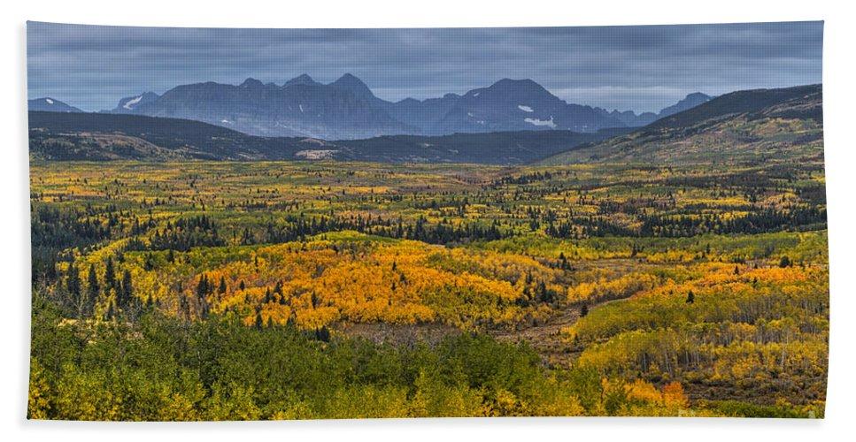 Glacier National Park Hand Towel featuring the photograph East Glacier Autumn Colors by Mark Kiver