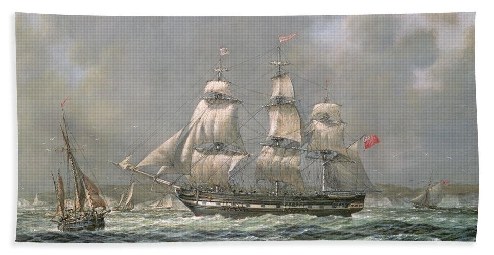 Boat Hand Towel featuring the painting East Indiaman Hcs Thomas Coutts Off The Needles   Isle Of Wight by Richard Willis