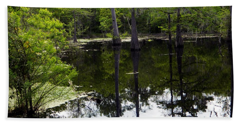 East Texas Bath Sheet featuring the photograph East Texas Cyprus Pond by Shere Crossman