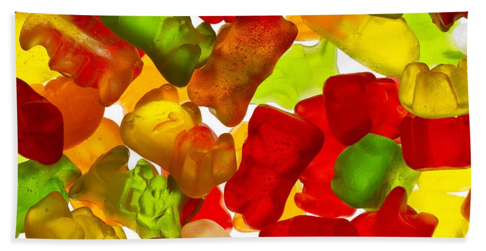 Easter Hand Towel featuring the photograph Easter Bunny Gummies 2 A by John Brueske