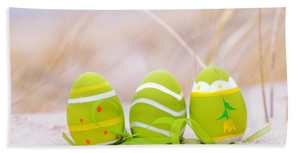 Easter Decorated Eggs On Sand Hand Towel For Sale By Michal Bednarek