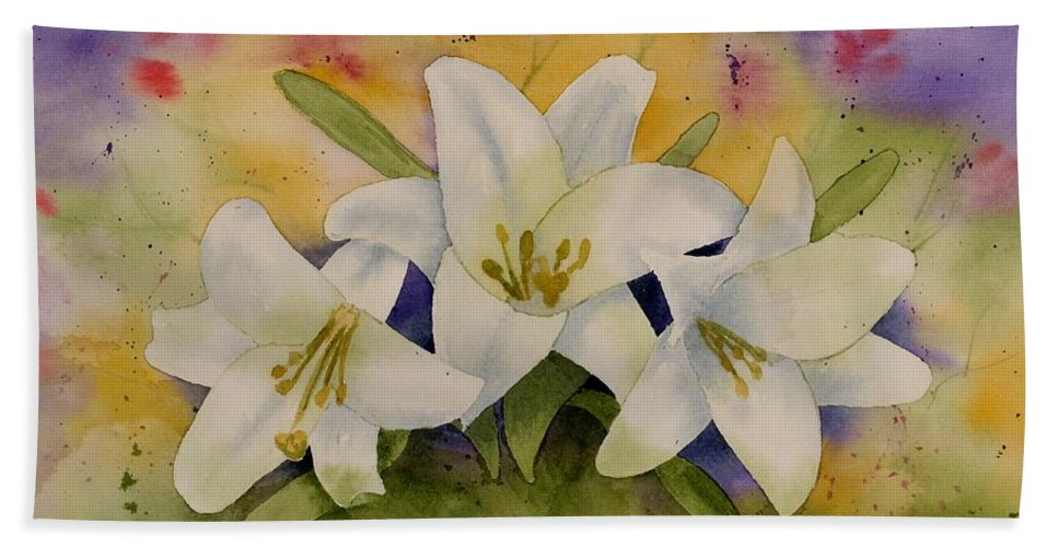 Watercolor Bath Sheet featuring the painting Easter Lilies by Brett Winn