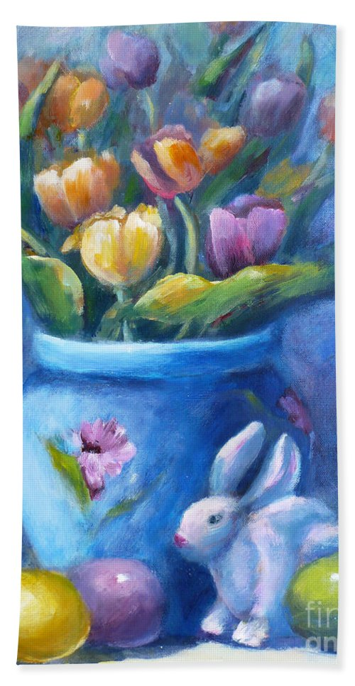 Easter Bath Sheet featuring the painting Easter Still Life by Carolyn Jarvis