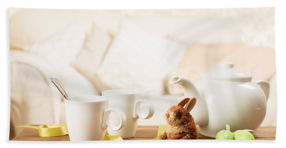 Easter Hand Towel featuring the photograph Easter Tea Break by Amanda Elwell