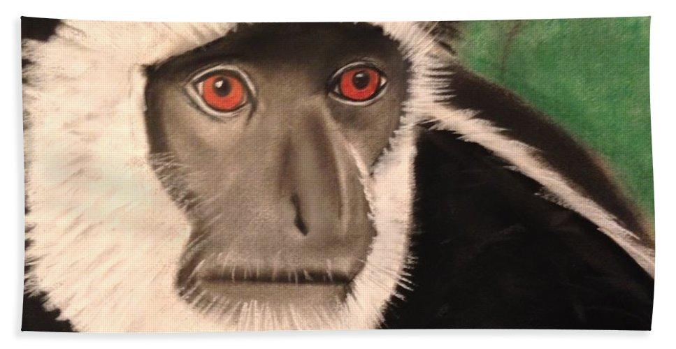 Monkey Bath Sheet featuring the pastel Eastern Colobus Monkey by Renee Michelle Wenker