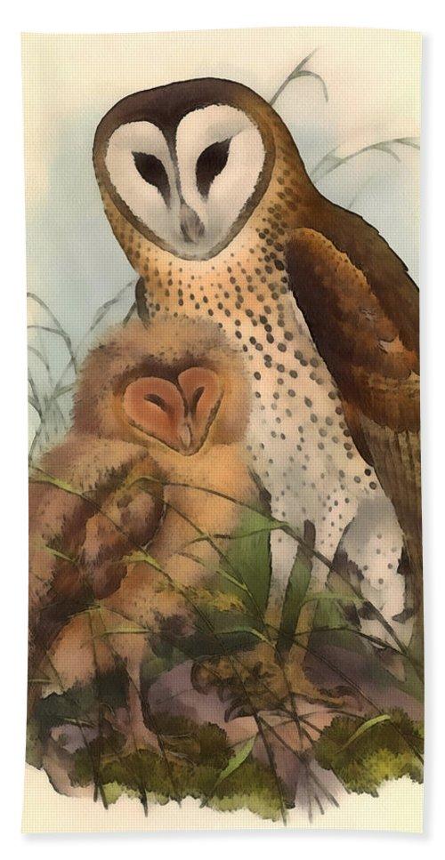 John Gould Hand Towel featuring the digital art Eastern Grass Owl by John Gould