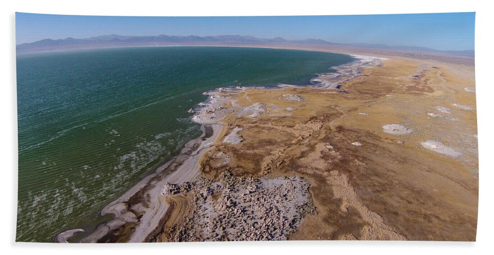 Above Bath Sheet featuring the photograph Eastern Side Of Mono Lake by David Levy