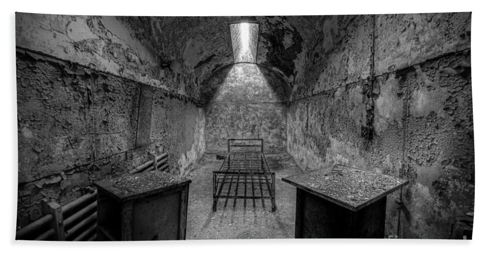 Pa Hand Towel featuring the photograph Eastern State Penitentiary Bw by Michael Ver Sprill