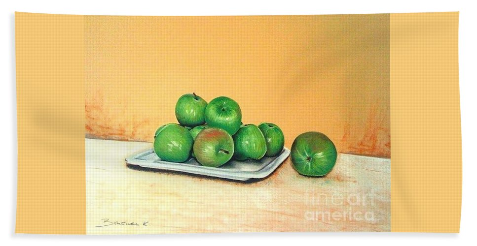 Apples Bath Towel featuring the pastel Eat Green by Katharina Filus