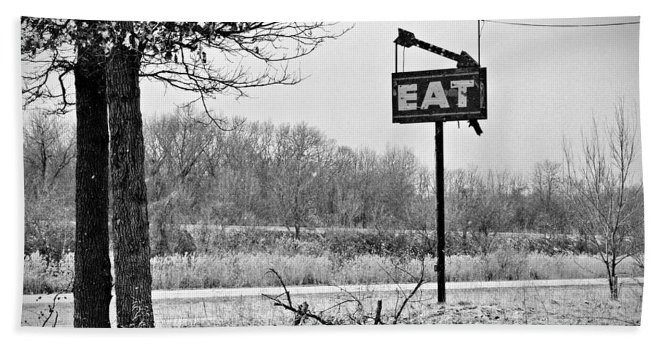Eat Sign Hand Towel featuring the photograph Eat Here by Gary Richards
