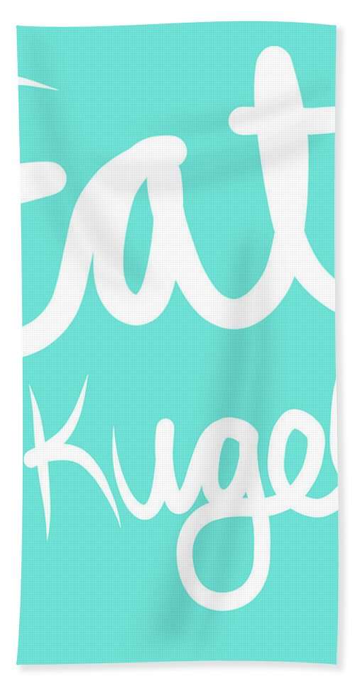 Kugel Hand Towel featuring the painting Eat Kugel - Blue And White by Linda Woods