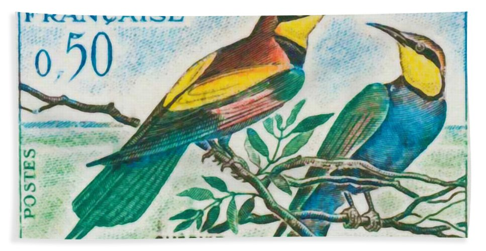 Nature Bath Sheet featuring the painting Eater Conservation Camargue by Jeelan Clark