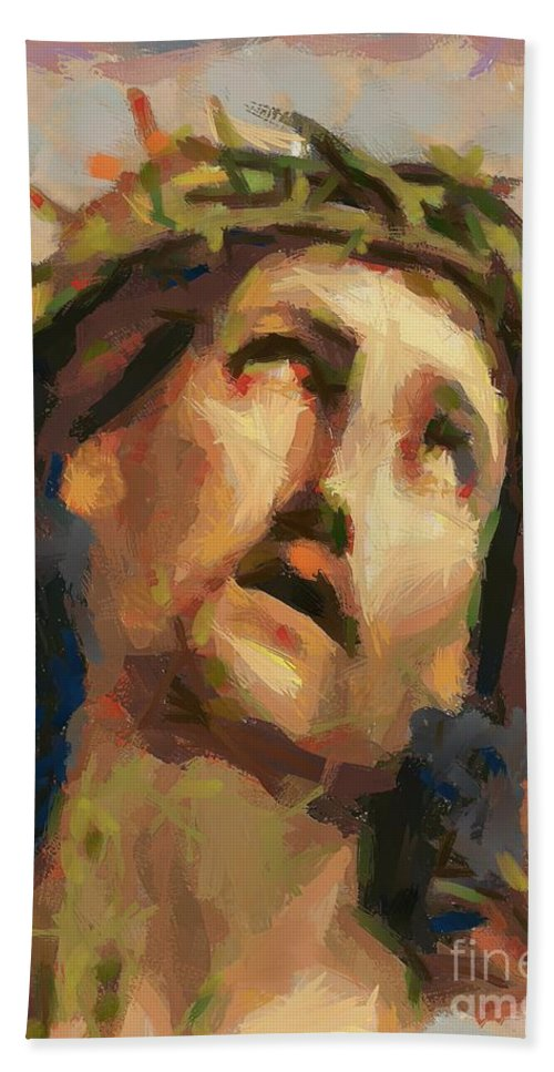 Portrait Bath Sheet featuring the painting Ecce Homo by Dragica Micki Fortuna
