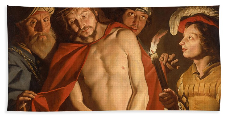 Matthias Stom Bath Sheet featuring the painting Ecce Homo by Matthias Stom
