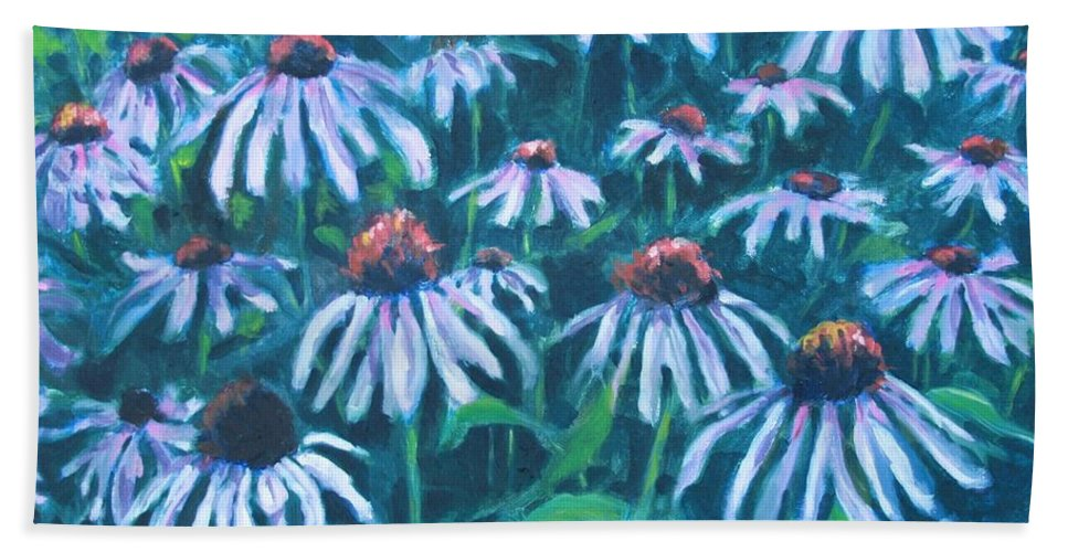 Flowers Hand Towel featuring the painting Echinacea by Jan Bennicoff