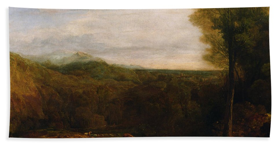 Landscape Bath Sheet featuring the painting Echo And Narcissus by Joseph Mallord William Turner
