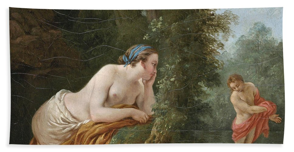Louis-jean-francois Lagrenee Bath Sheet featuring the painting Echo And Narcissus by Louis-Jean-Francois Lagrenee