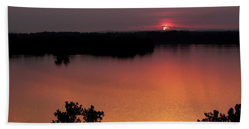 Solar Eclipse Hand Towel featuring the photograph Eclipse Of The Sunset by Jason Politte