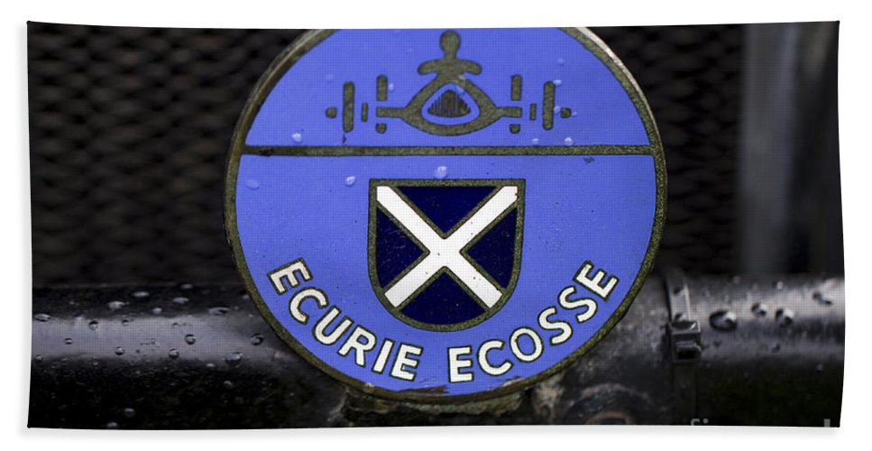 Clare Bambers Hand Towel featuring the photograph Ecurie Ecosse Badge by Clare Bambers