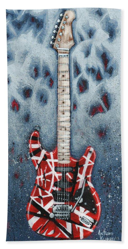 Guitar Hand Towel featuring the painting Eddie's Frankenstrat by Arturo Vilmenay