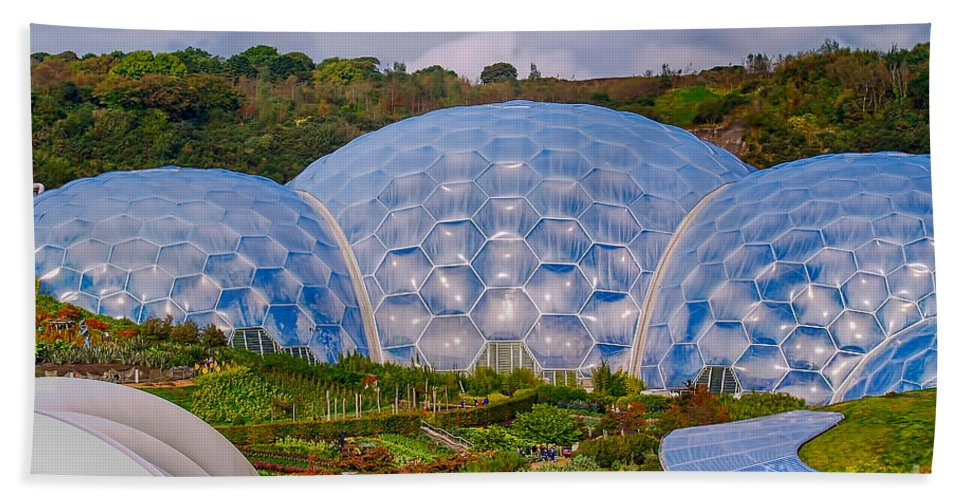 Cornwall Canvas Hand Towel featuring the photograph Eden Project Biomes by Chris Thaxter