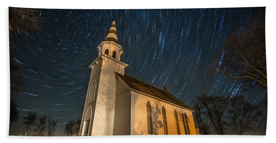 Star Trails Bath Sheet featuring the photograph Eden Trails by Aaron J Groen