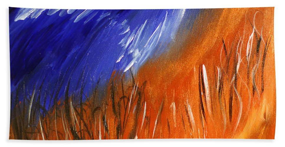 Bold Abstract Hand Towel featuring the painting Edge Of Autumn by Donna Blackhall