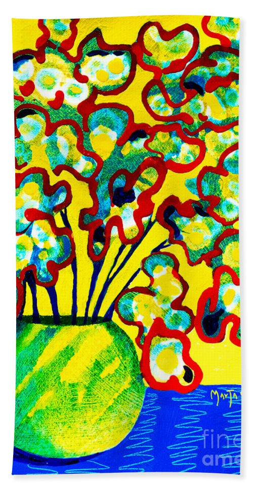 Abstract Flower Bouquet Paintings Hand Towel featuring the painting Edgy Red by Marta Tollerup