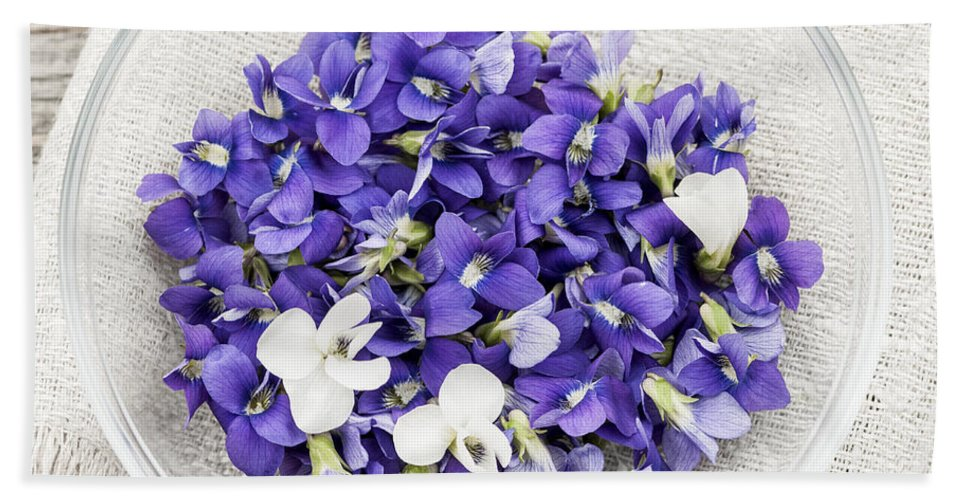 Violets Hand Towel featuring the photograph Edible Violets by Elena Elisseeva