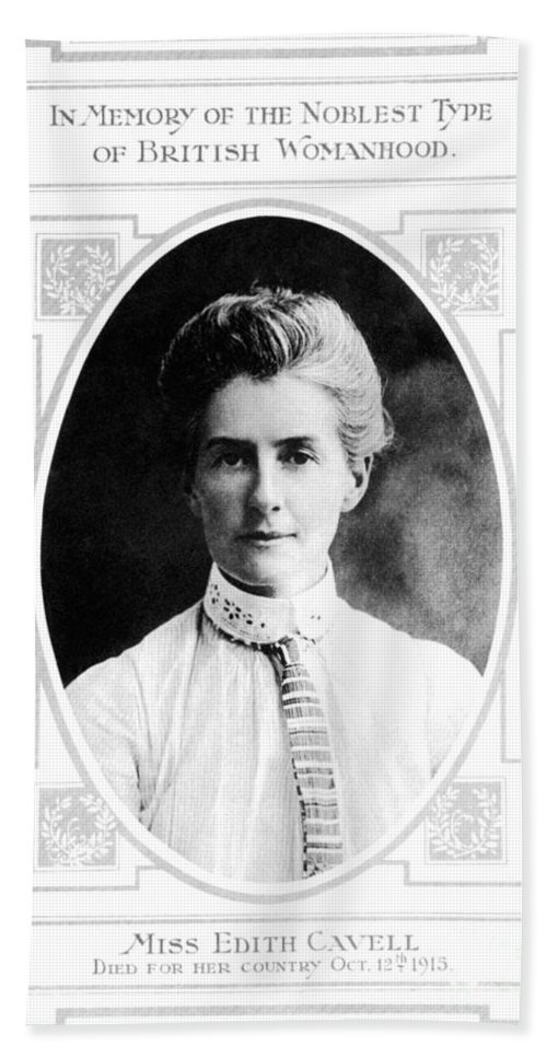 1915 Bath Sheet featuring the photograph Edith Cavell (1865-1915) by Granger