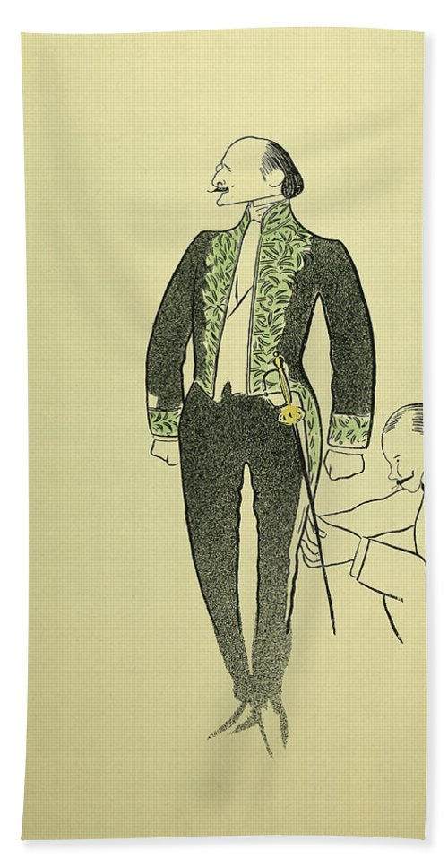 1901 Bath Sheet featuring the drawing Edmond Rostand (1868-1918) by Granger