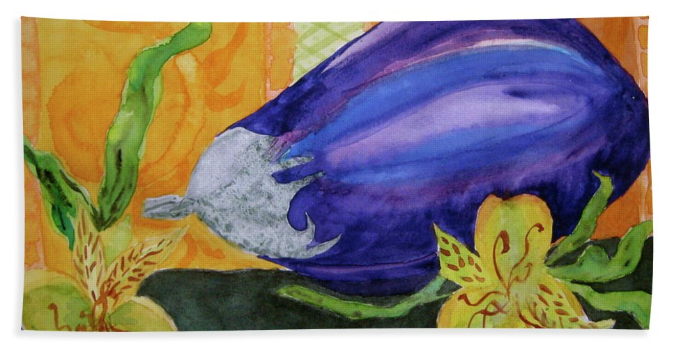 Eggplant Bath Sheet featuring the painting Eggplant And Alstroemeria by Beverley Harper Tinsley