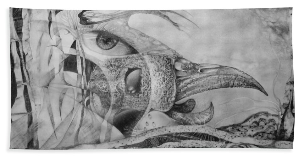 Surreal Bird Bath Towel featuring the drawing Ego-bird-fish Nesting Ground by Otto Rapp