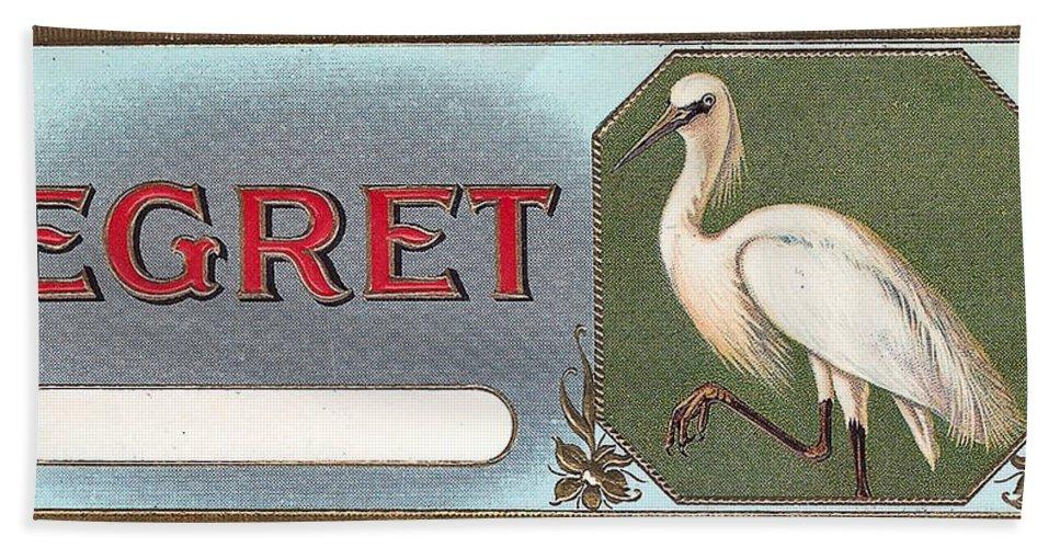 Egret Cigar Label Bath Sheet featuring the digital art Egret Cigar Label by Label Art
