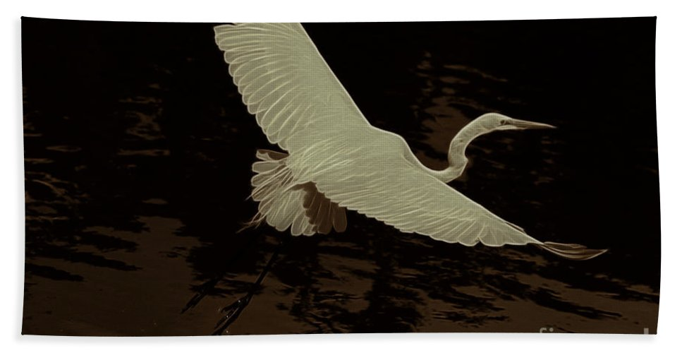 Egret Hand Towel featuring the photograph Egret Fractalius by Deborah Benoit