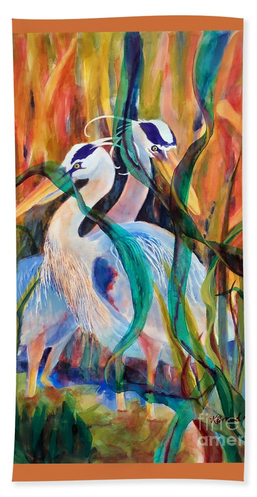 Paintings Bath Sheet featuring the painting Egrets In Red 2      by Kathy Braud